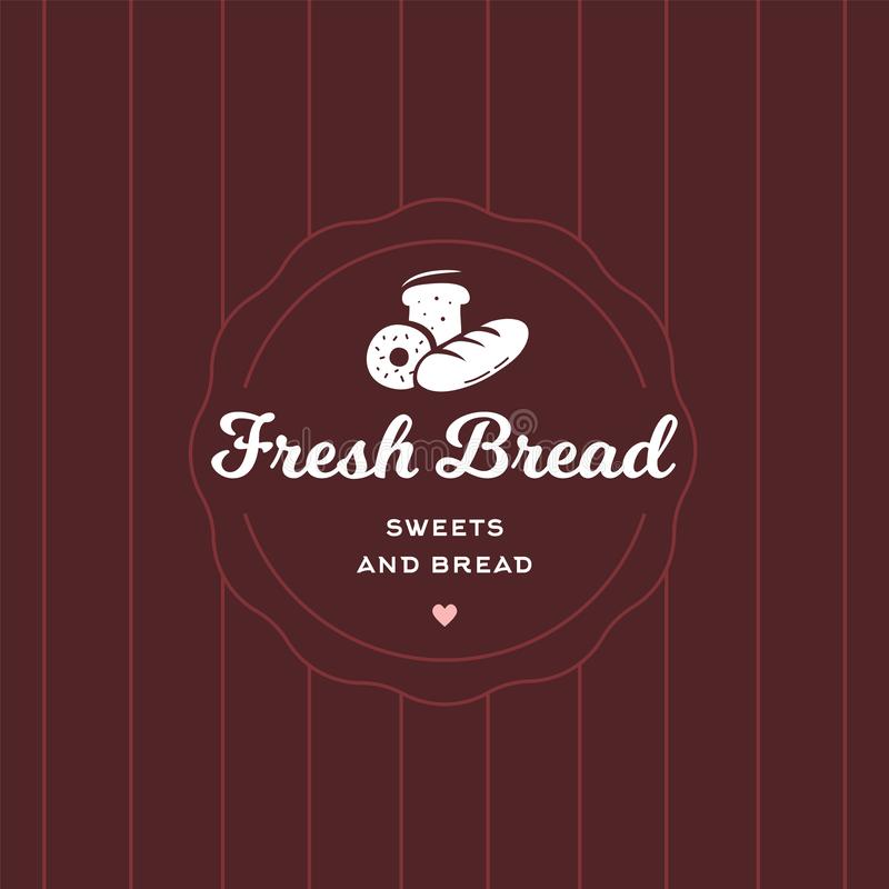Fresh bread retro style logo badge template. Cafe and restaurant emblem, symbol for sweets shop, pastry in modern sticker style stock illustration