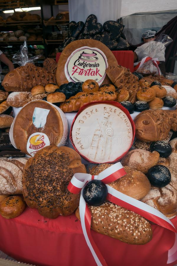 Fresh bread for sale on a festival royalty free stock images