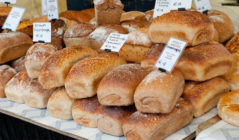Fresh bread on sale at local farm market stock image