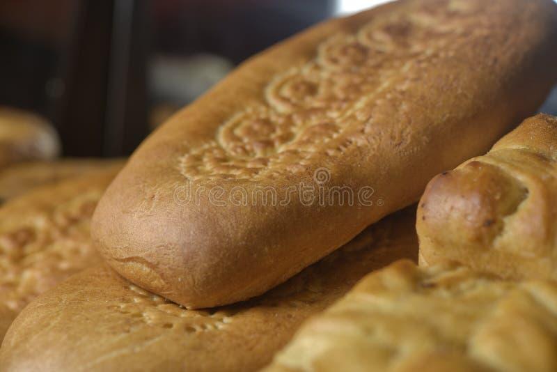 Fresh bread on the shelf stock image