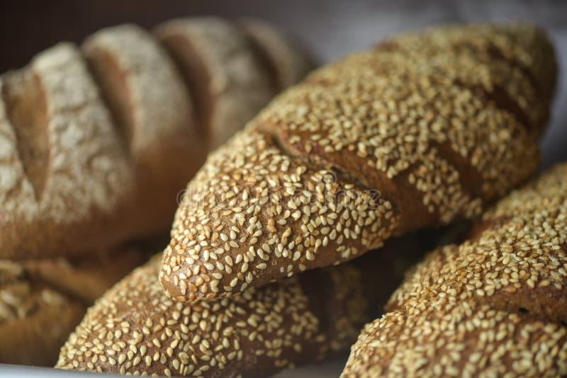 Fresh bread on the shelf royalty free stock photo