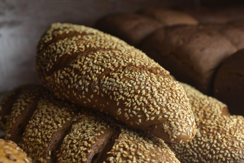 Fresh bread on the shelf stock photos