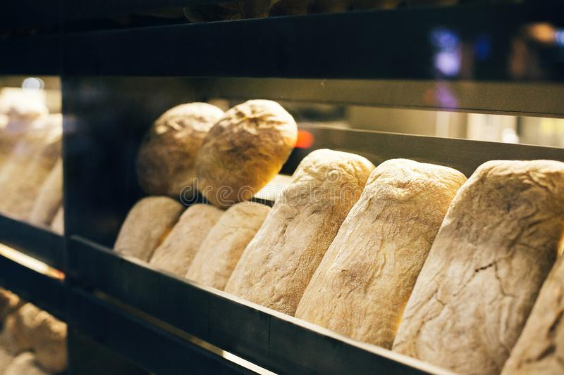 Fresh bread on shelves stand of a shop or bakery. Freshly baked bread loaves at window of store front. Organic pastry. Space for. Text royalty free stock photos