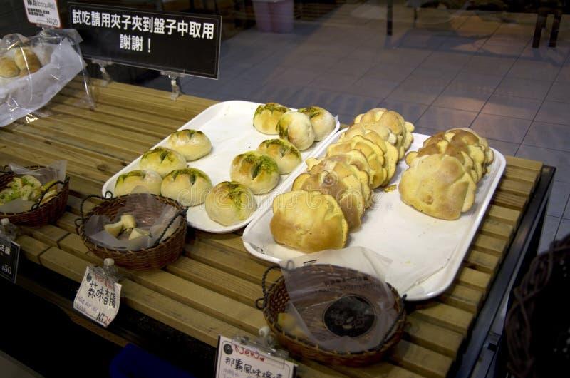 Fresh breads in bakery stock image