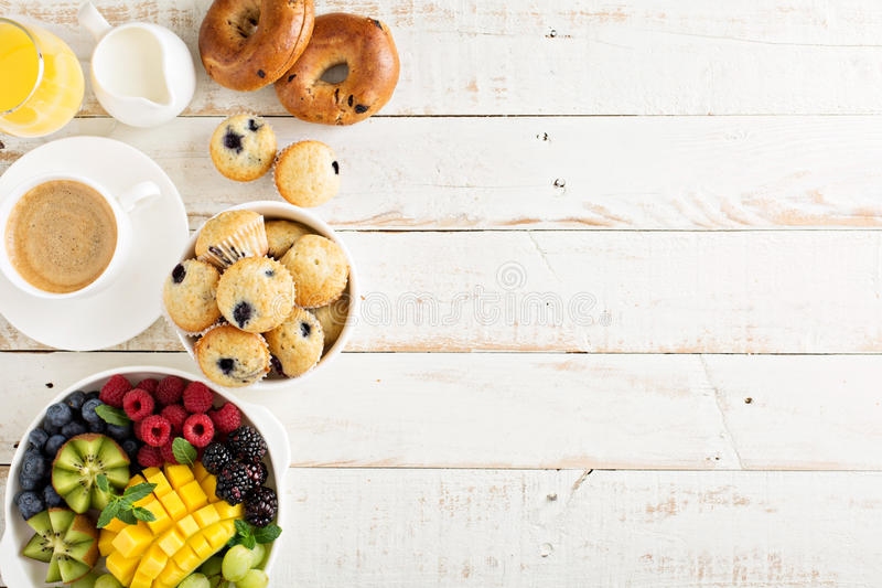 Fresh and bright continental breakfast table stock image