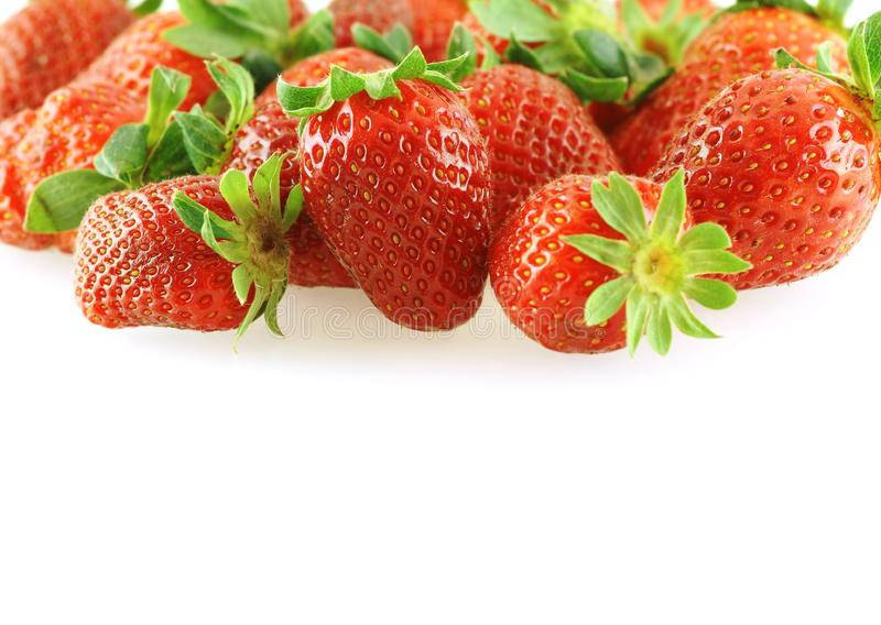 Fresh bright juicy strawberry over white royalty free stock photos