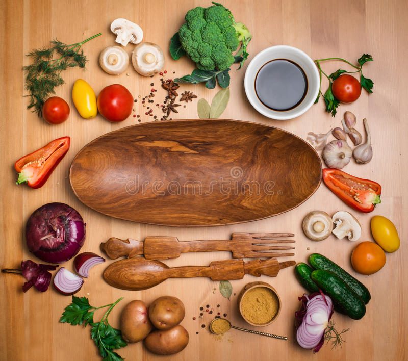 Fresh broccoli and vegetables ingredients for tasty vegetarian c royalty free stock photography