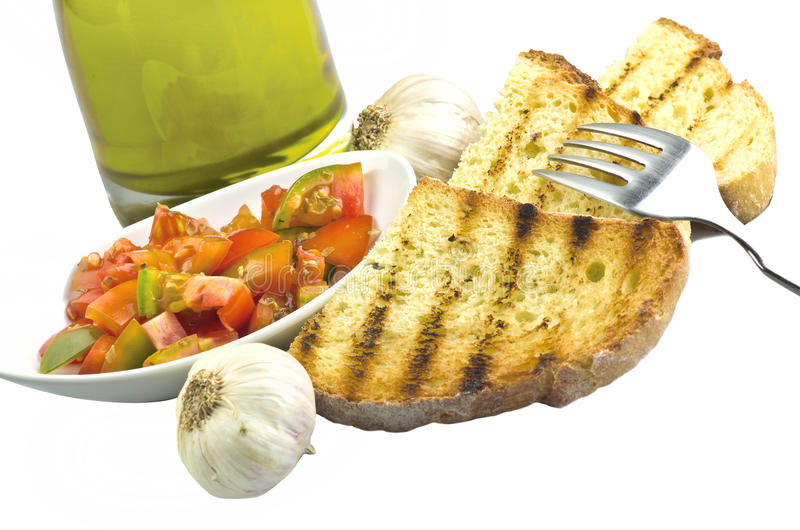 Fresh bruschetta with tomato stock images