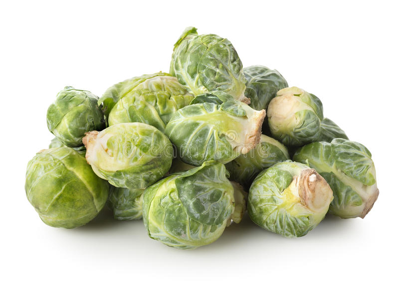 Fresh brussel sprouts. Isolated on a white background royalty free stock photo