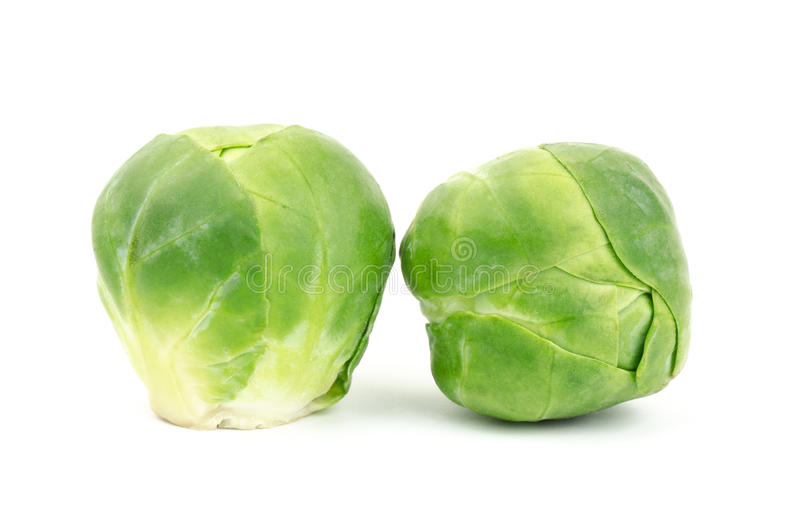Fresh brussel sprouts. On white background royalty free stock photos