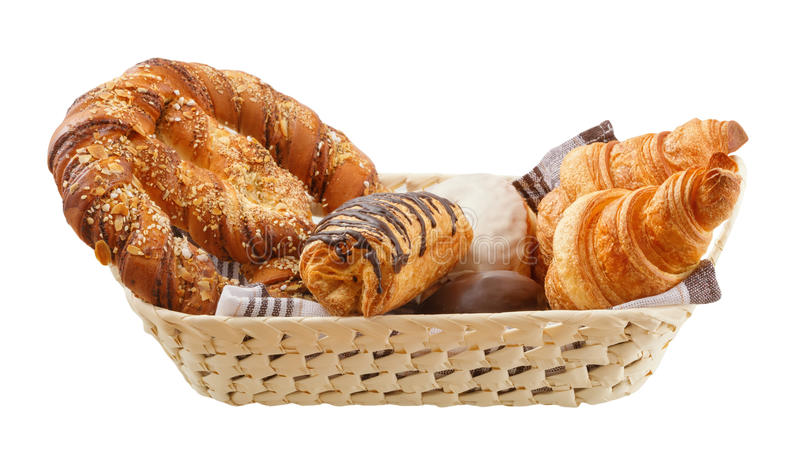Fresh buns are in a basket stock photo