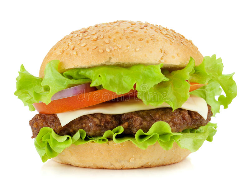 Fresh burger with beef, cheese, onion and tomatoes royalty free stock photo