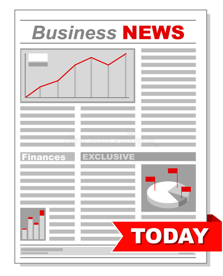 Fresh business newspaper with different diagrams royalty free illustration