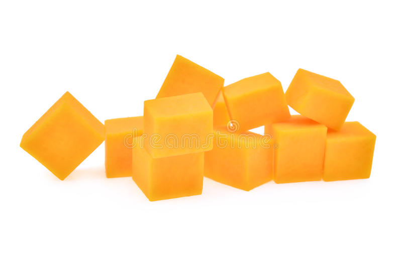 Fresh butternut squash cubes isolated on white background. Fresh butternut squash cubes isolated on white stock photos