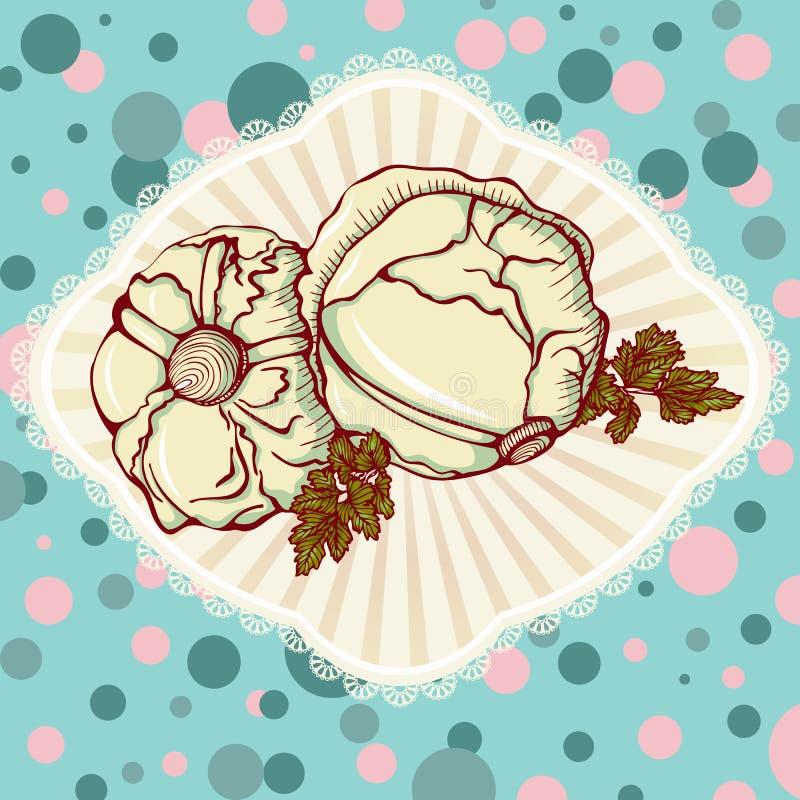 Fresh cabbage vegetables vector illustration