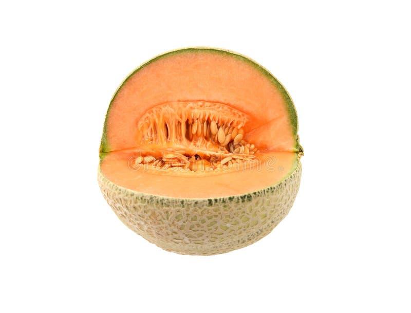 Fresh cantaloupe melon cut open stock photos
