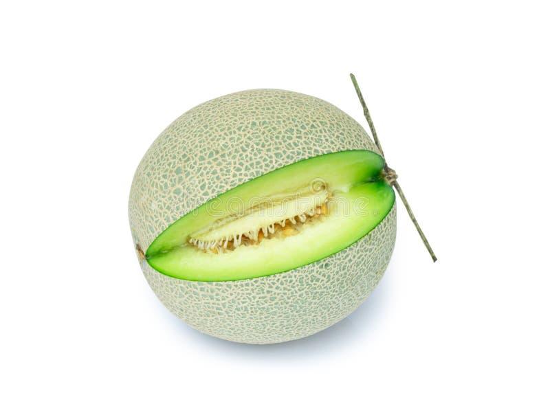 Fresh cantaloupe melon isolated on white background royalty free stock photography