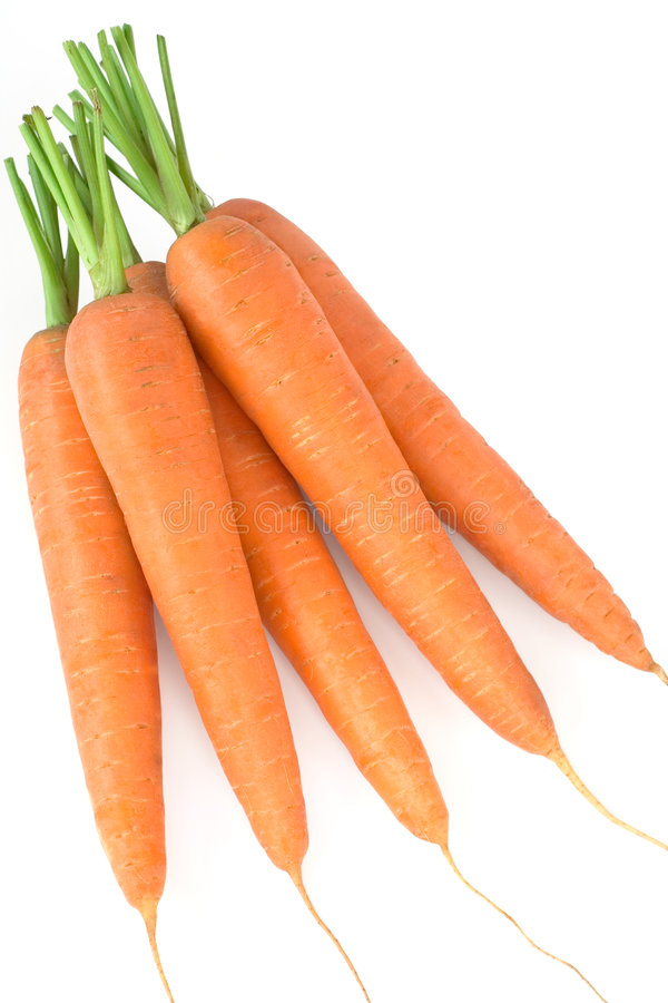 Fresh carrots. From market on white background stock images