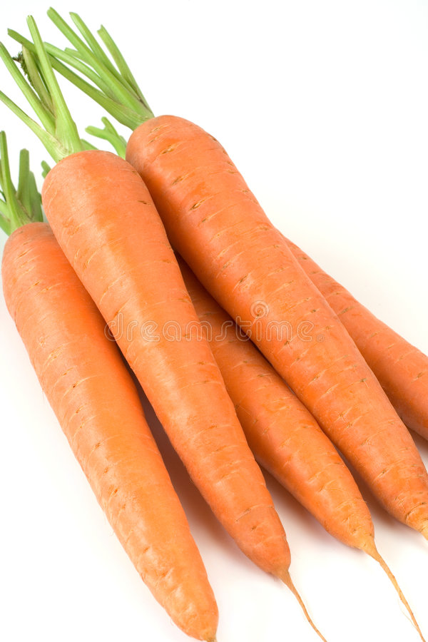 Fresh carrots. From market on white background royalty free stock photography