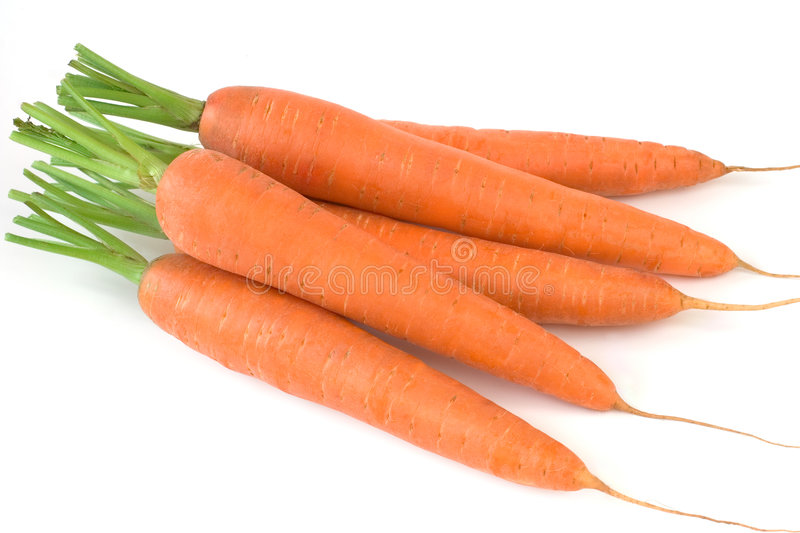 Fresh carrots. From market on white background royalty free stock image