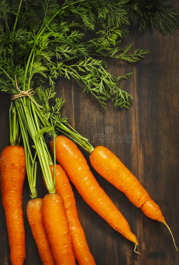 Fresh carrots bunch. Fresh carrots bunch on wooden background royalty free stock photos