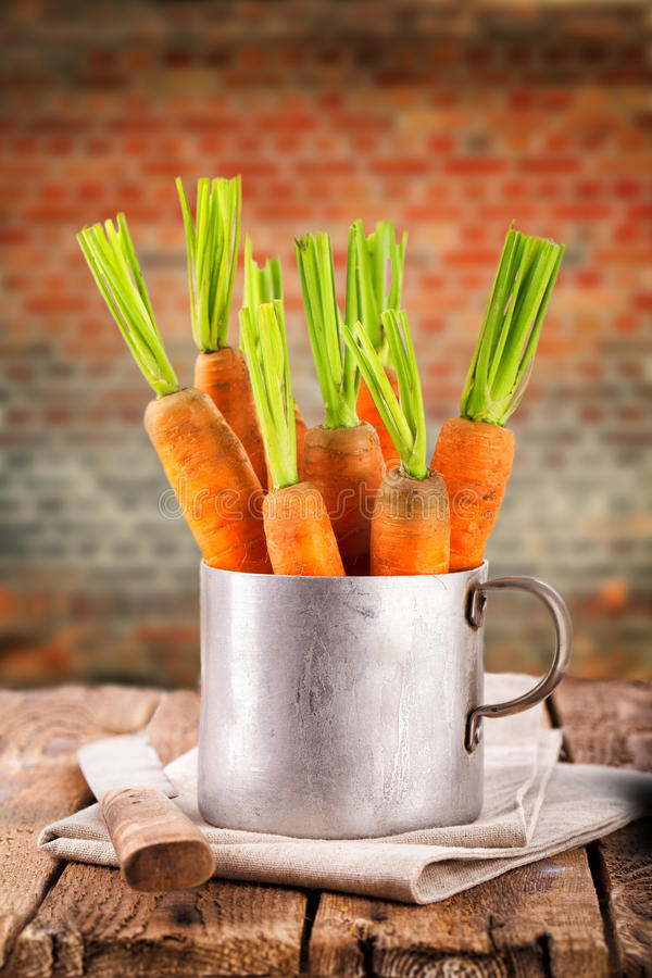 Fresh carrots. In an old brass pot with rustic background stock images