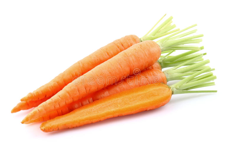 Fresh carrots. On a white background stock images