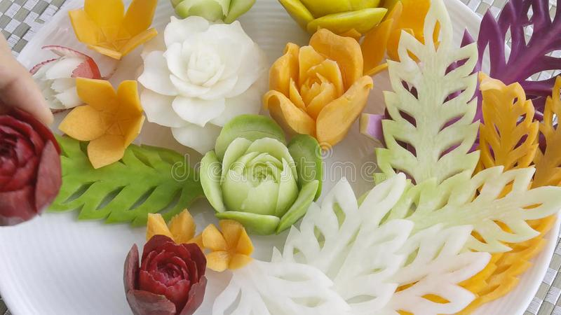 Fresh carved mix Thai fruits and vegetables royalty free stock image
