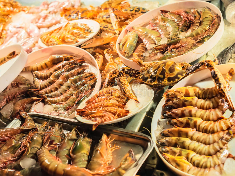 Download Fresh Caught Seafood, Different Types Of Shrimps Stock Photo - Image: 37694710