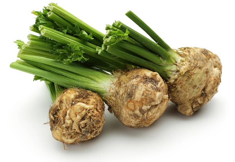 Fresh celeriac root with celery stalks isolated. Background royalty free stock images