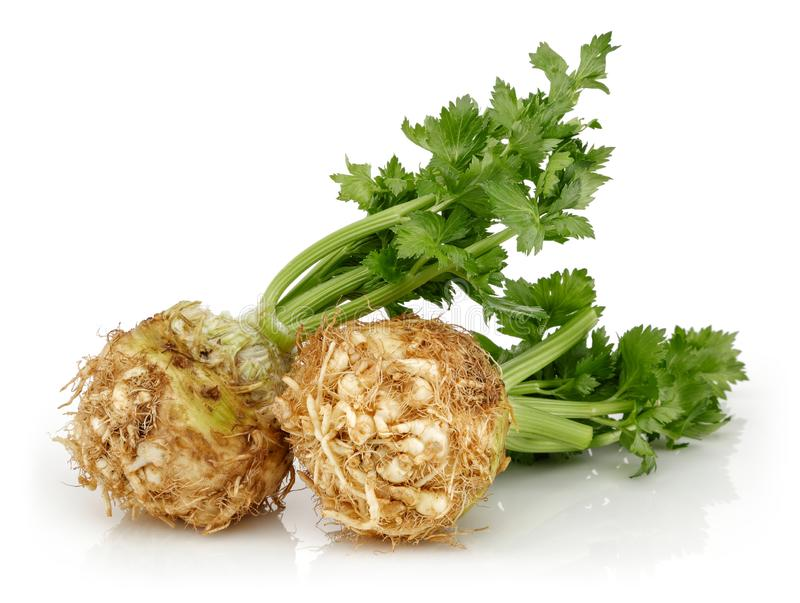 Fresh celeriac root with celery stalks isolated. Background royalty free stock photography
