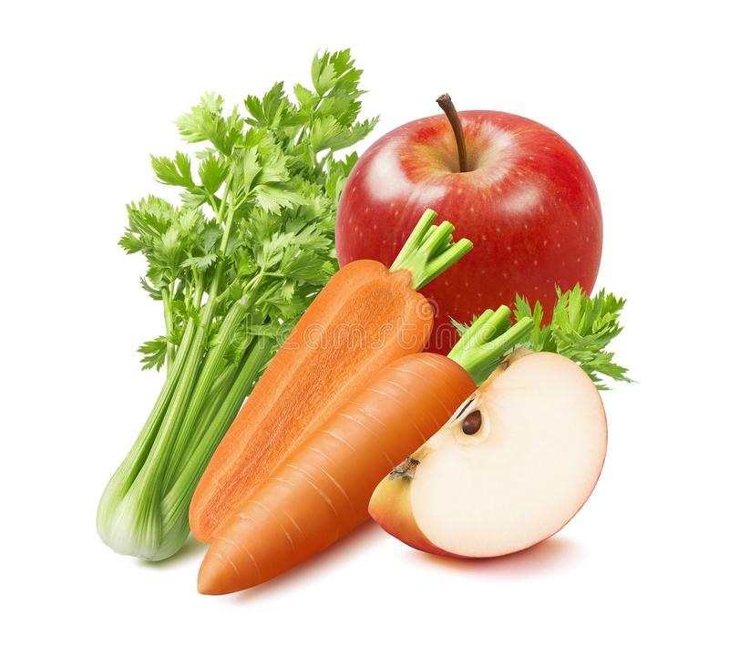 Fresh celery, carrot and red apple isolated on white background. Package design element with clipping path royalty free stock image