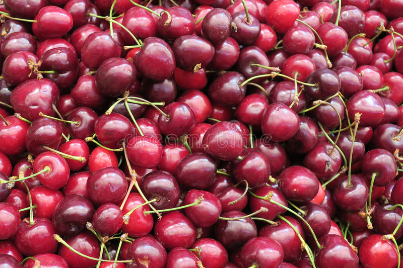 Fresh cherries at outdoor market stock photography