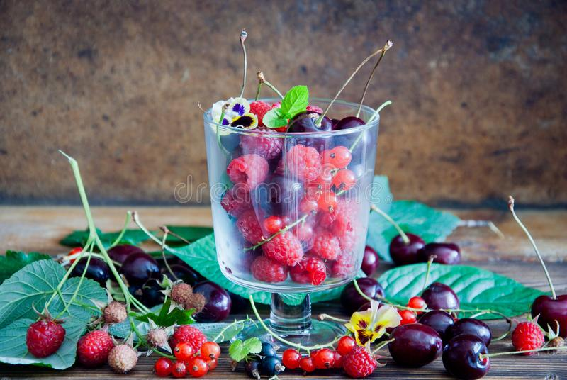 Fresh cherries, raspberries, red currant and black currant. In a glass stock photography