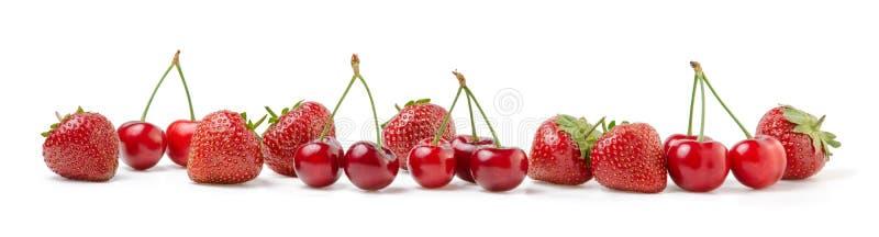 Fresh Cherries and Strawberries on White royalty free stock photo