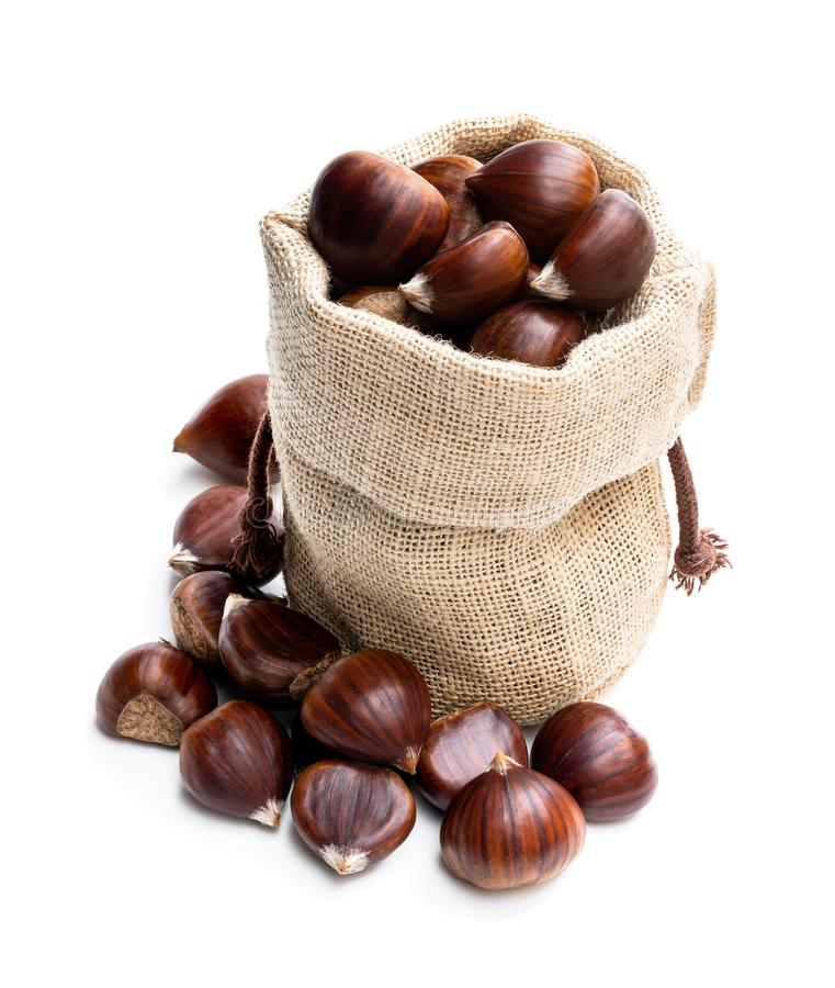 Free Fresh Chestnut In Burlap Bag Isolated On White Royalty Free Stock Photography - 163780357