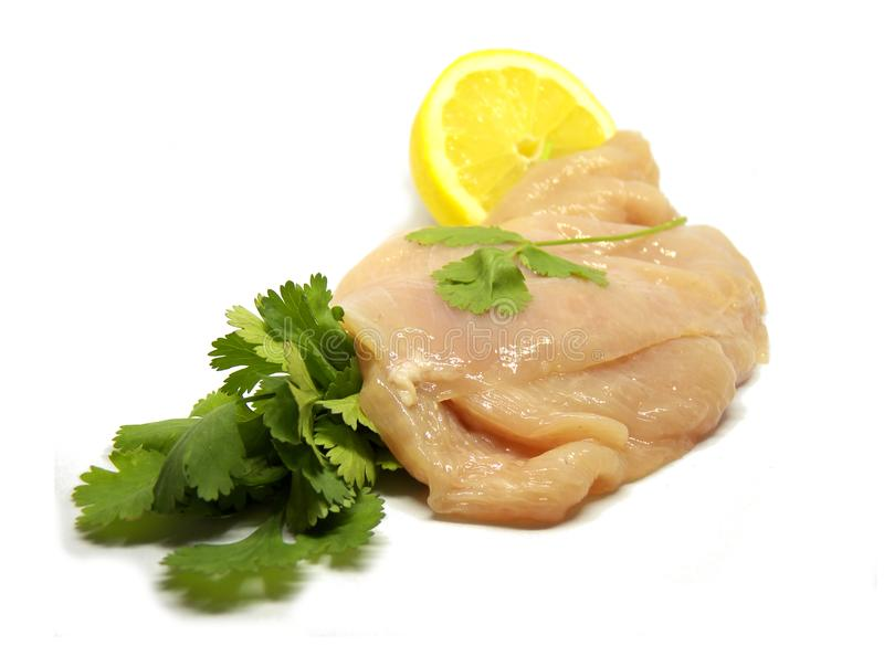 Fresh chicken breast isolated on a white background royalty free stock photos