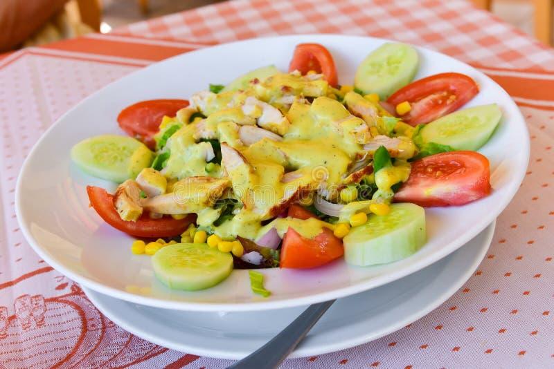 Fresh chicken breast salad stock image