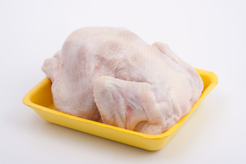 Fresh chicken-broiler (hen). On a yellow substrate stock image