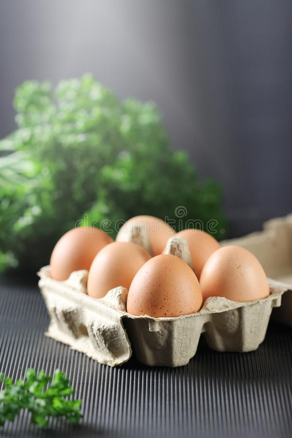 Fresh chicken eggs in carton box on black background. stock image
