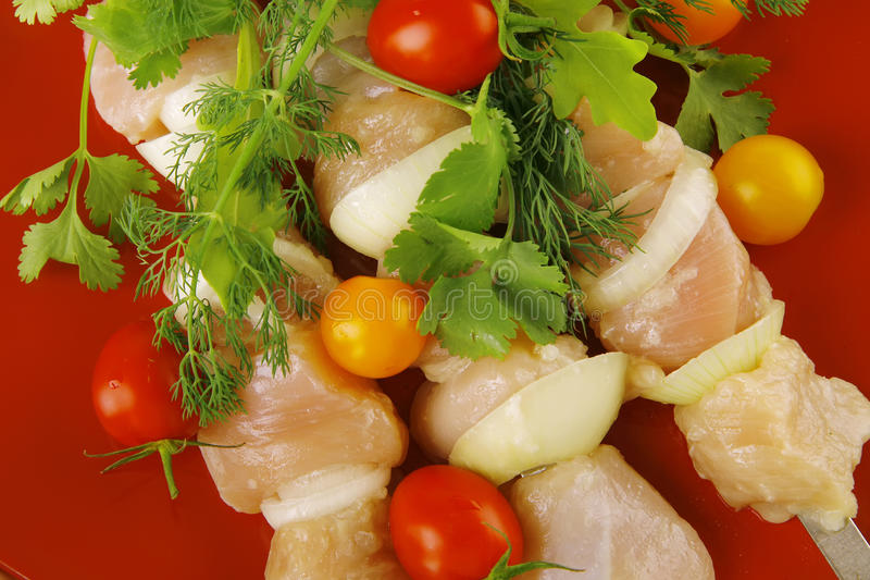 Fresh Chicken Kebabs On Plate Royalty Free Stock Images