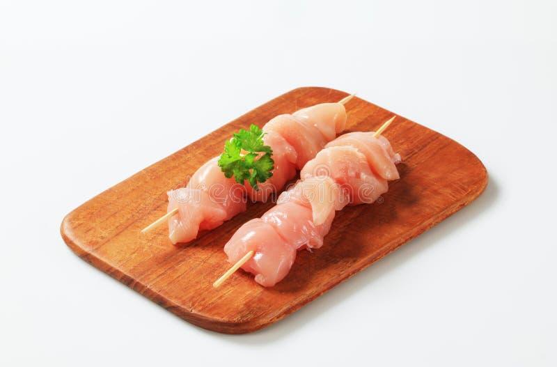 Fresh chicken skewers stock image