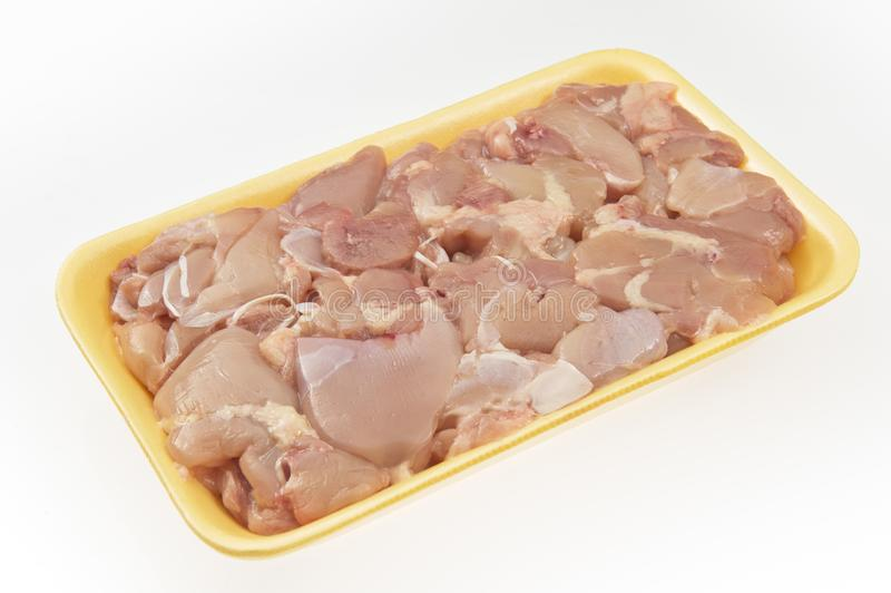 Fresh chicken skewers with bones in package royalty free stock image
