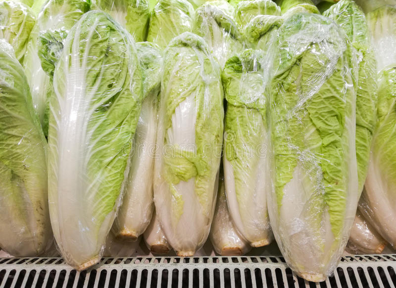 Fresh Chinese Cabbage Michilli in vegetable store royalty free stock images