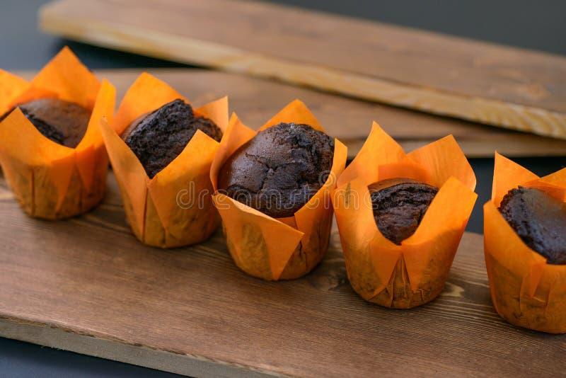 Fresh chocolate cupcakes royalty free stock image