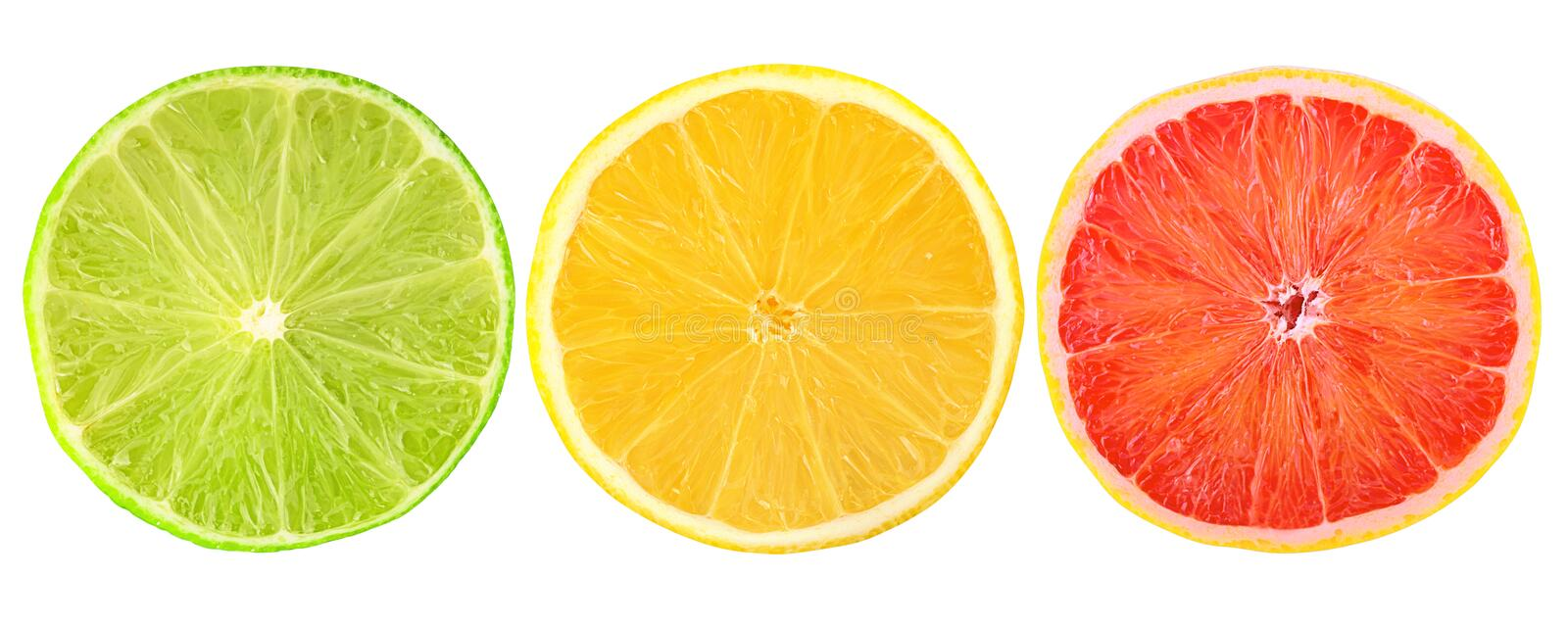 Fresh citrus fruits cut in half isolated on white royalty free stock photography