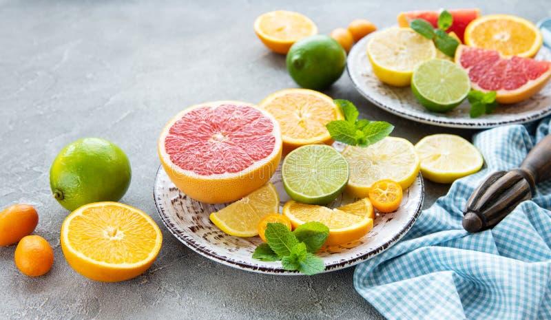 Fresh citrus fruits royalty free stock photos