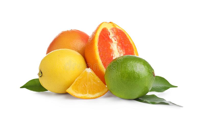 Fresh citrus fruits. On white background royalty free stock images