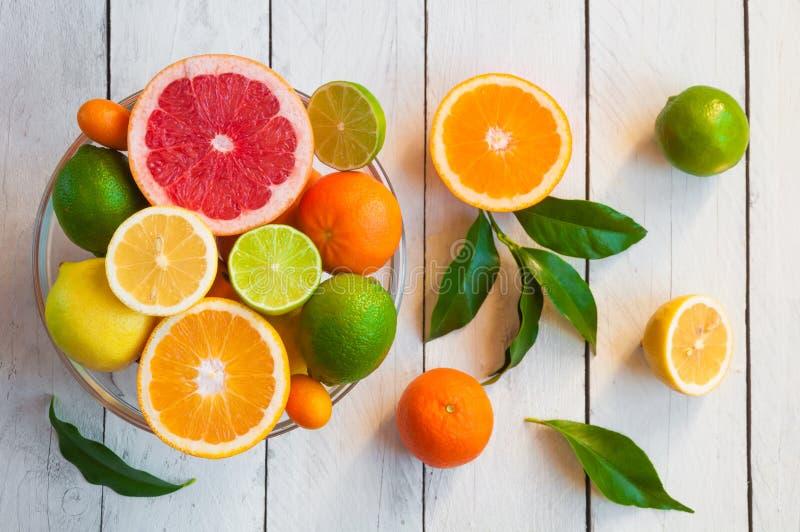 Fresh citrus fruits orange, lemon, grapefruit, mandarin, lime with leaves stock photo