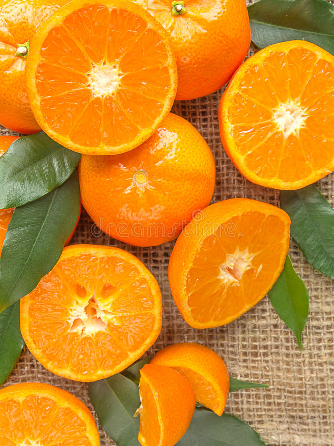 Fresh citrus fruits tangerines, oranges closeup in rustic style royalty free stock image